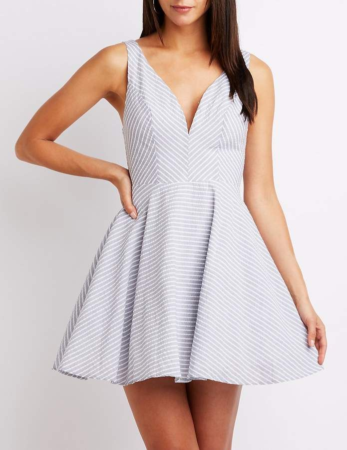 a1f7168daa ~CLICK TO BUY~Charlotte Russe Notched Seersucker Skater Dress  fashion   skater  dress  clothing