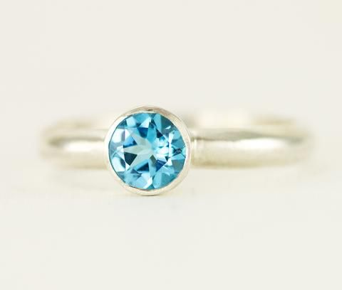 Swiss Blue Topaz Solitaire Ring - Sterling Blue Topaz Birthstone Ring - All Wired Up Jewelry Designs