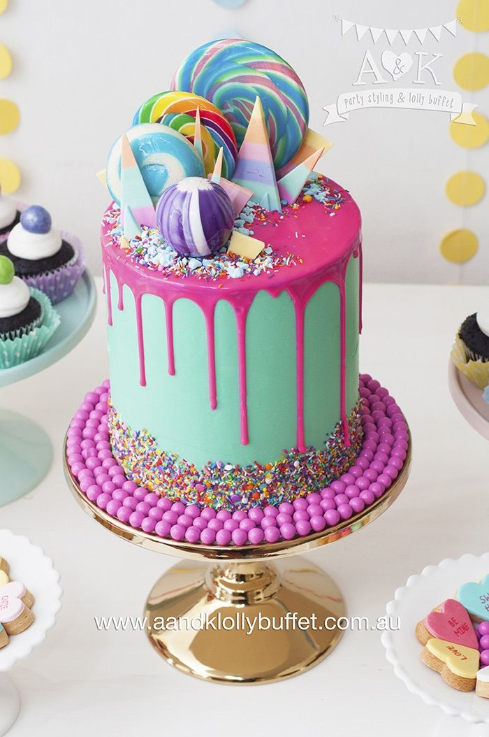 Cake Designs Ideas tastefully yours honeycomb caramel popcorn drip cake 12 drip cake design ideas top 12 Pastel Ice Cream Themed Birthday Party Karas Party Ideas Lollipop Cakebirthday Cake Designsbirthday