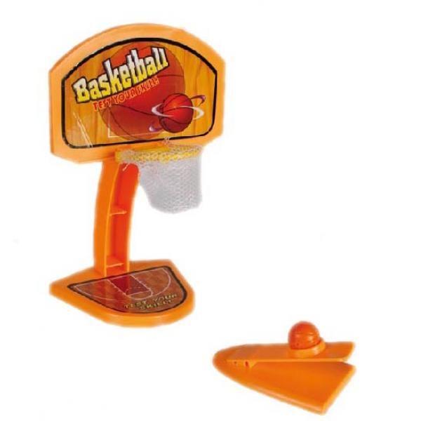 Súper divertido mini juego de baloncesto de sobremesa. Tira la pelota a canasta mediante un trampolín, intenta encestar y cuenta los puntos anotados. Incluye 6 bolas y base de disparoMedidas aproximadas 11 x 18 cm