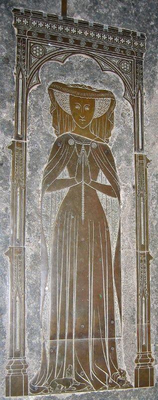 Lady Eleanor Culpepper - d. 1420 (Lingfield, St. Peter & Paul)    NB: Dress & cloak