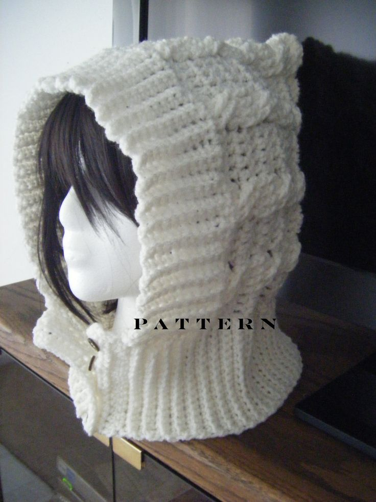 One Skein Knitting Pattern : INSTANT DOWNLOAD Cables Crochet Hood or Scoodie Hat Scarf - Pattern Cable, ...