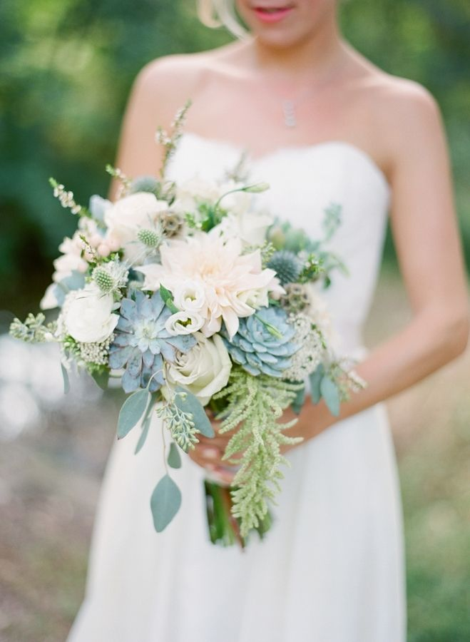 bridal bouquet with succulents and shades of cream, green, sage | eucalyptus | A Rustic Outdoor Wedding At the Groom's Family Farm