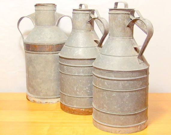 Vintage Galvanized Milk Canister Metal by VintageHomeStories