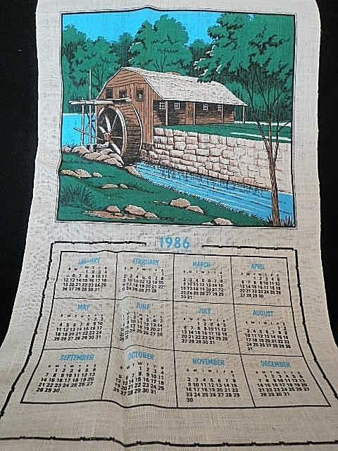 1986 Linen Fabric Wall Hanging Calendar Tea Towel Water Mill