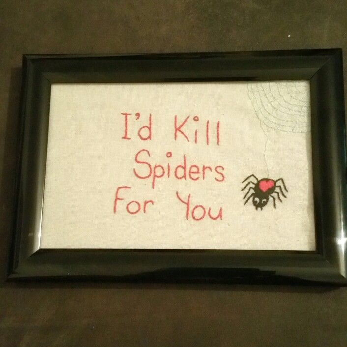 I'd kill spiders for you $45.00 pp Hand embroidered by The Stitchin' Bitch