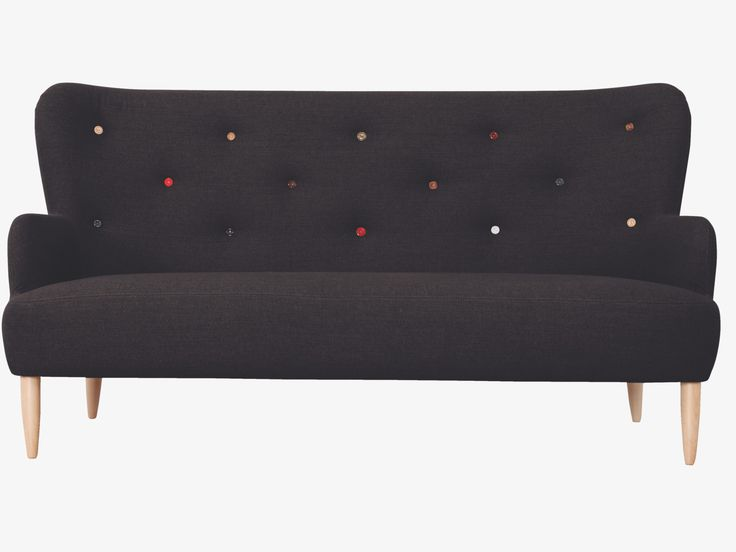 WILMOT BLACKS Fabric Black fabric 3 seater sofa with multi-coloured buttons