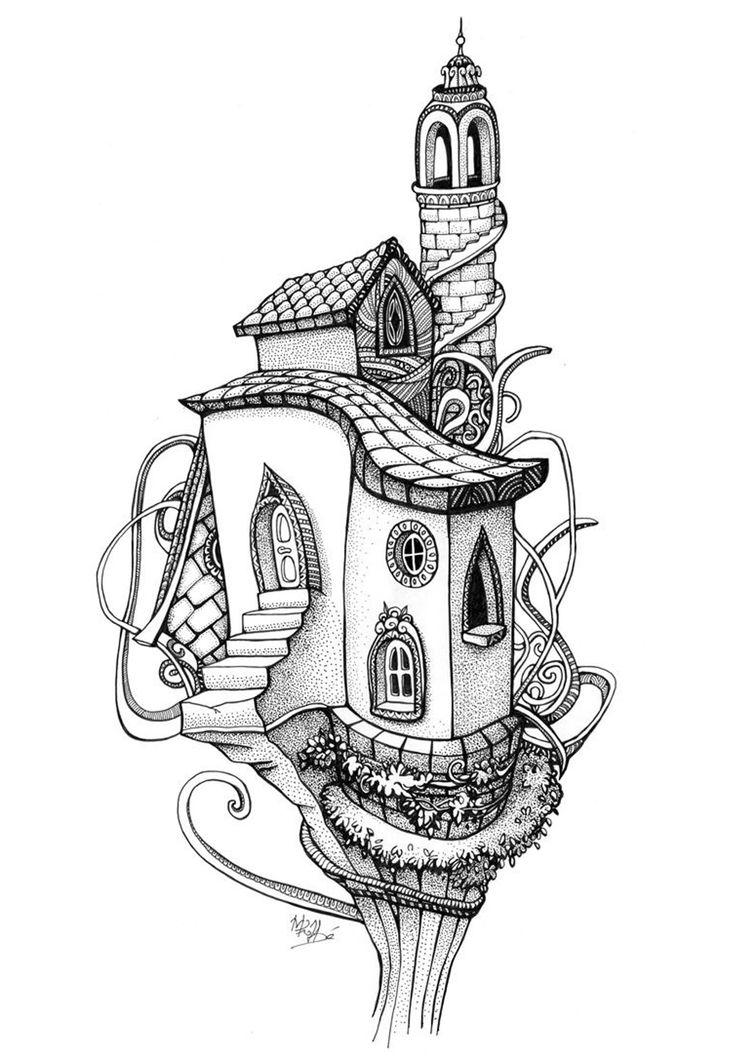 Galerie de coloriages gratuits coloriage-adulte-architecture-maison-arbre. Coloriage d'une maison dans un arbre