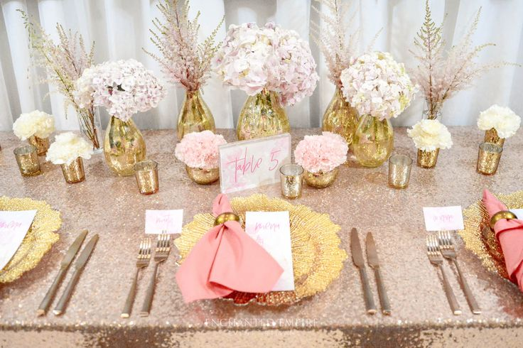 Styled in soft blushed hues, beautiful floral arrangements which were delicately placed within elegant gold mercury teardrop vases. Complimented by gold mercury tea lights and wedding stationery in clean pastel and deep pink hues. Gold Flora charger plates with dusty pink napkins held by gold napkin rings, atop of shimmering rose gold sequin tablecloths + matte copper cutlery, finished with elegant gold tiffany chairs…