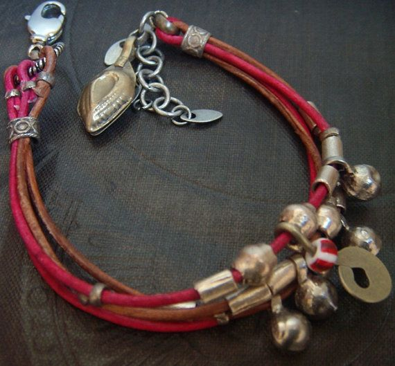 Cyclaman and Tan Leather Trinket Bracelet via Etsy