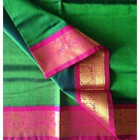 SC180029-VARNAM Handwoven Silkcotton-Korvai-Green with Pink, 700 g,  green