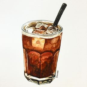 "338 lượt thích, 5 bình luận - watercolor food painting/맛있는그림 (@dalgura) trên Instagram: ""더울땐 역시 아이스아메리카노지~ . 暑い時はやっぱりアイスアメリカのでしょう!! #アイスコーヒー#icecoffee #아이스아메리카노…"""