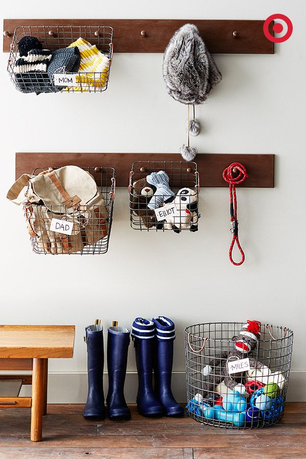 Organize That Mudroom Mess Once And For All By Hanging These Threshold Wire Bins For Each Person