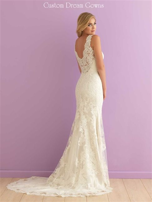 Lace Back Wedding Dress <3 Romantic Lace on Tulle Over Satin Sheath with a…