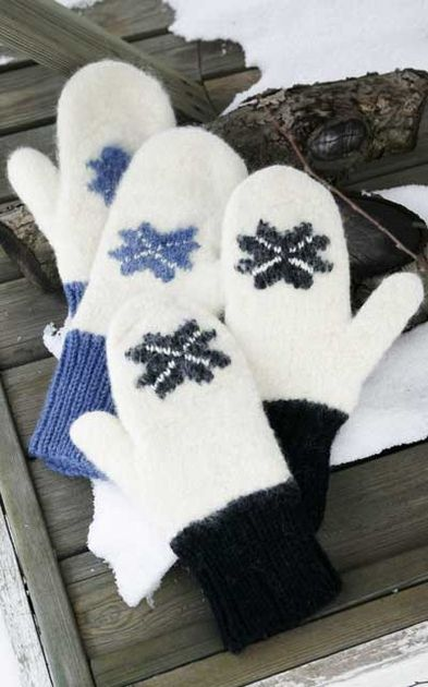 Novita felting ideas, mittens made with Novita Joki (River) and Isoveli yarn #novitaknits https://www.novitaknits.com/en