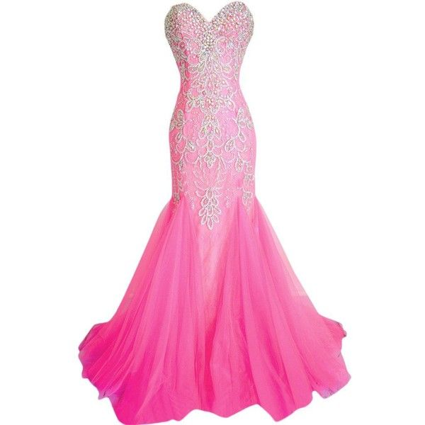 Ivydressing Retro Mermaid Sweetheart Beaded Tulle Prom Party Evening... ($240) ❤ liked on Polyvore featuring dresses, sweetheart neckline prom dresses, cocktail party dress, pink tulle dresses, pink cocktail dress and prom dresses