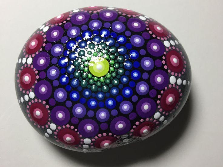 Hand Painted Mandala Stone, Mandala Meditation Stone, Dot Art Stone, Healing Stone, #314 by MafaStones on Etsy