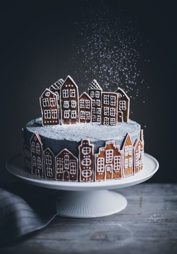 Gingerbread Village Cake