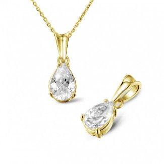 - 1.50 caraat solitaire hanger in geel goud met peervormige diamant