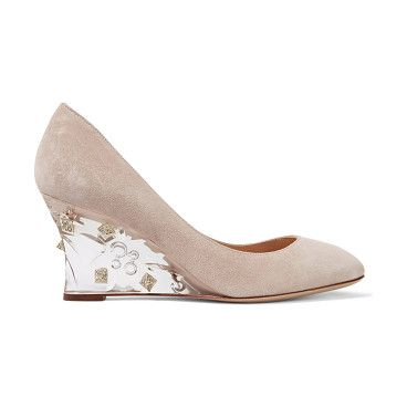 On SALE at 40% OFF! Embellished Suede Pumps by Valentino. Italian sizing Valentino taupe pumps . Acrylic wedge heel measures approximately 70mm/ 3 inches . Suede . Crystal -em...