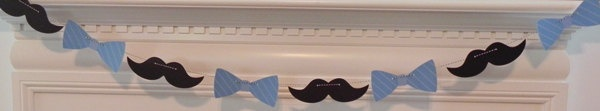 Cupcake Toppers: Little Man Bow Ties and Mustaches Baby Shower or Birthday Party - die cut mustaches bow ties. $13.50, via Etsy.