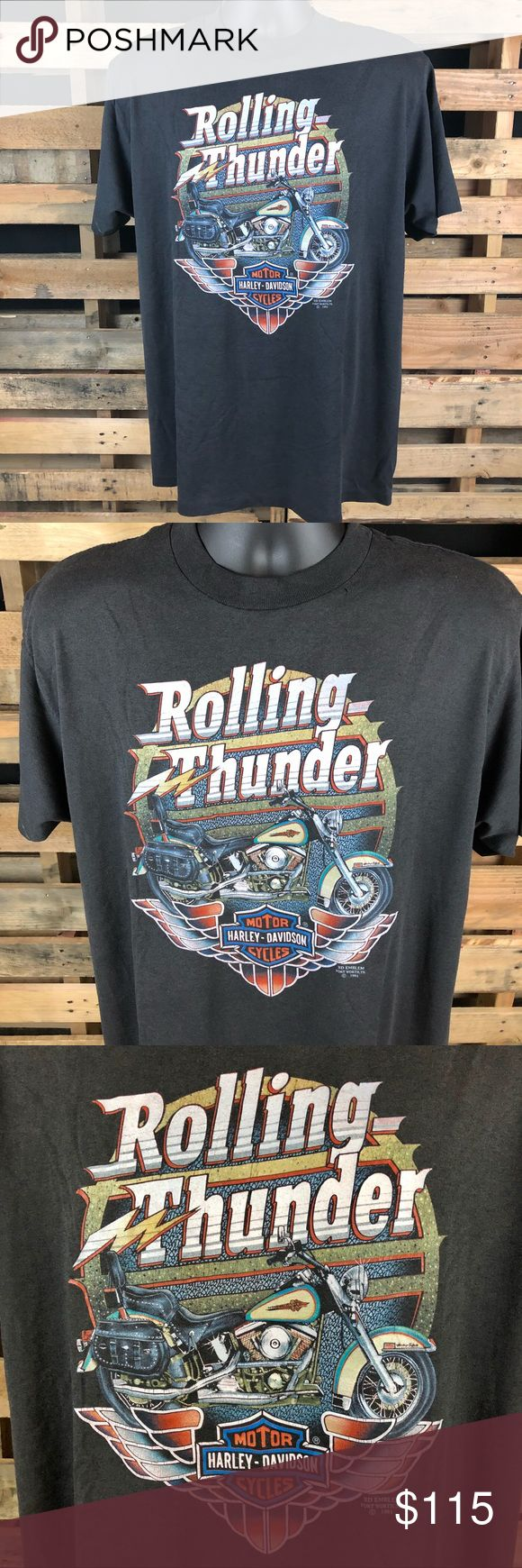 Vtg 90s Harley-Davidson Rolling Thunder 3D Emblem Good Vtg condition has small minor hole by collar (refer to pics)  Men's size XL All orders ship next business day with cleared payment thanks for your interest Harley-Davidson Shirts Tees - Short Sleeve