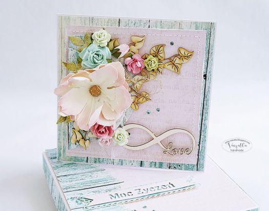 Kartka ślubna z kwiatem #1