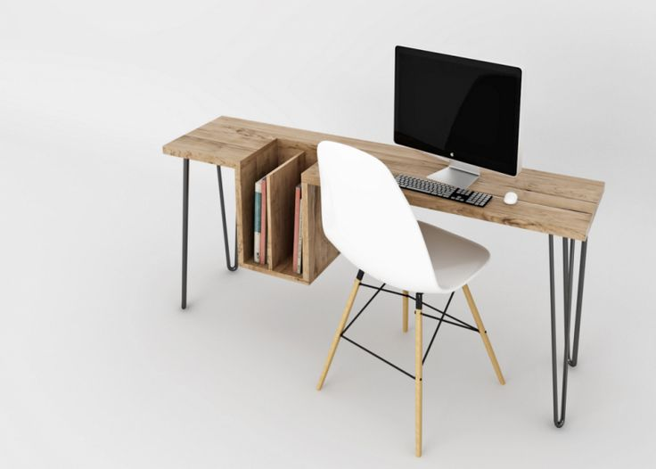 High Table est un bureau avec un plateau en bois intégrant un espace de rangement, les pieds et la structure sont en métal. L'élégant bureau High Table est designé par Ehoeho.