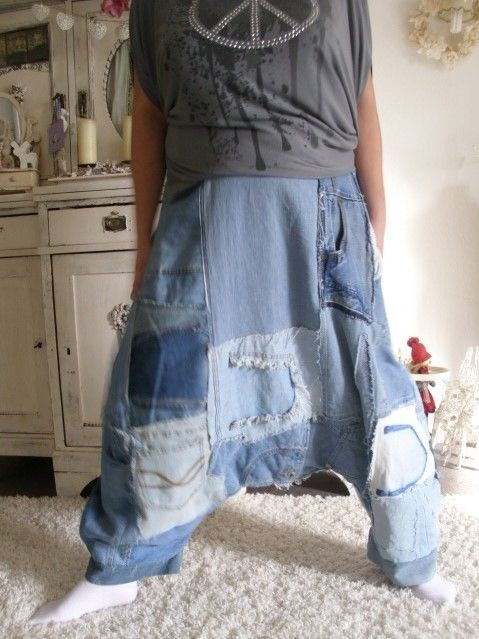 jeans patwork hippie haremshose rockabilly biker lagenlook sarouel boy upcycling
