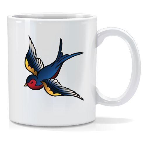Tazza personalizzata Old tattoo uccelo colorato