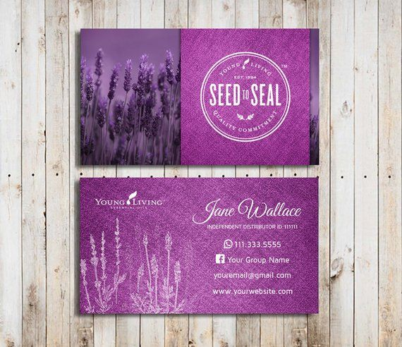 Young Living Business Cards Template Essential Oils Printable Design