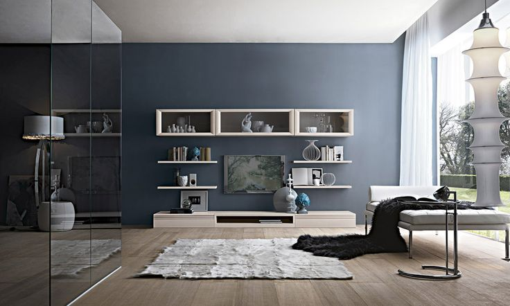 #living #componbili #arredi #zonagiorno #verde #pareti #attrezzate #soggiorno #style #qualità #legno #arredamento #interni #madeinitaly #blu #comfort