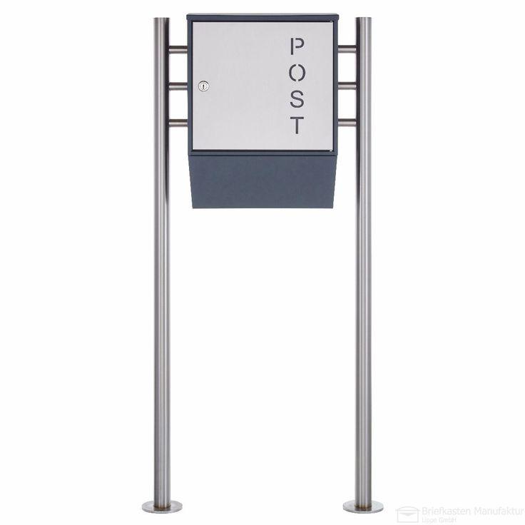 """Design Standbriefkasten """"POST"""" 596P mit Zeitungsfach - RAL 7016 anthrazit-grau - Edelstahl Entnahmetür & Standelemente"""