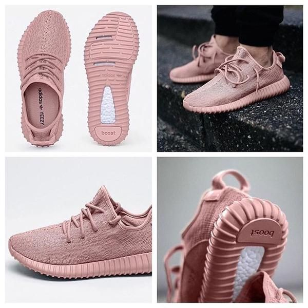 "Yeezy Boost 350 1:1 inspired sneakers by Kanye West come in light pink featuring a pink-based upper, sitting atop a Boost sole, Comfortable and perfect choice to pair with gym workouts or causal style.  +Exclusive ""concept pink"" colorway.+These shoes run true to size.   +Limited time!, FREE shipping + FREE gift"