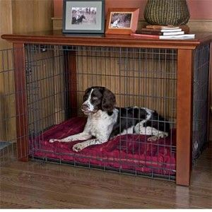 Beautiful design using a purchased dog crate and a console table that would match the size of the dog crate.