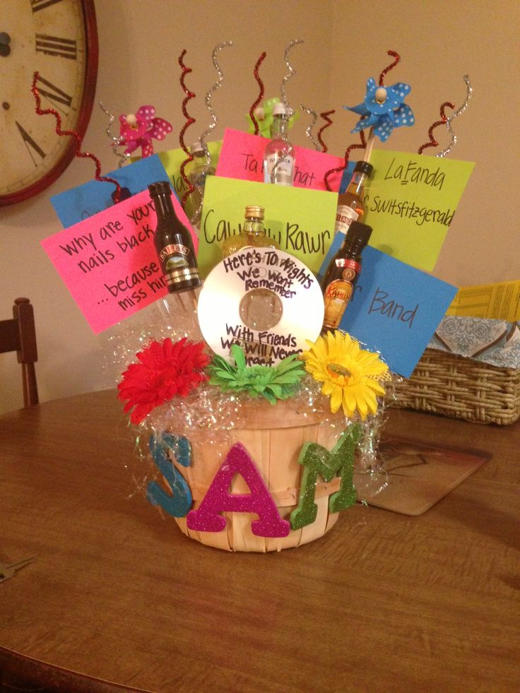 Fun 21st Birthday Basket For My Best Friend Favorite Memories And Small Bottles Of Liquor Here