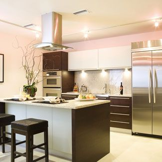 Modern kitchen inspiration - love the dark brown with the white and stainless steel