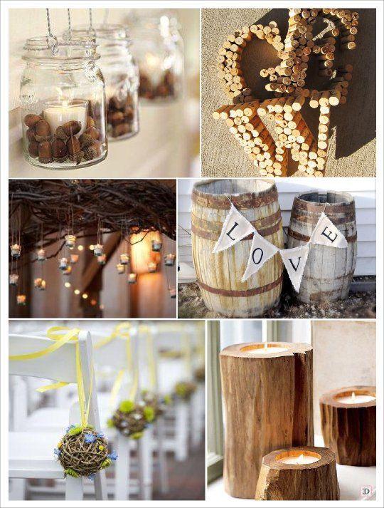 decoration salle mariage automne  boule rotin bouchon liege initiale, photophore gland