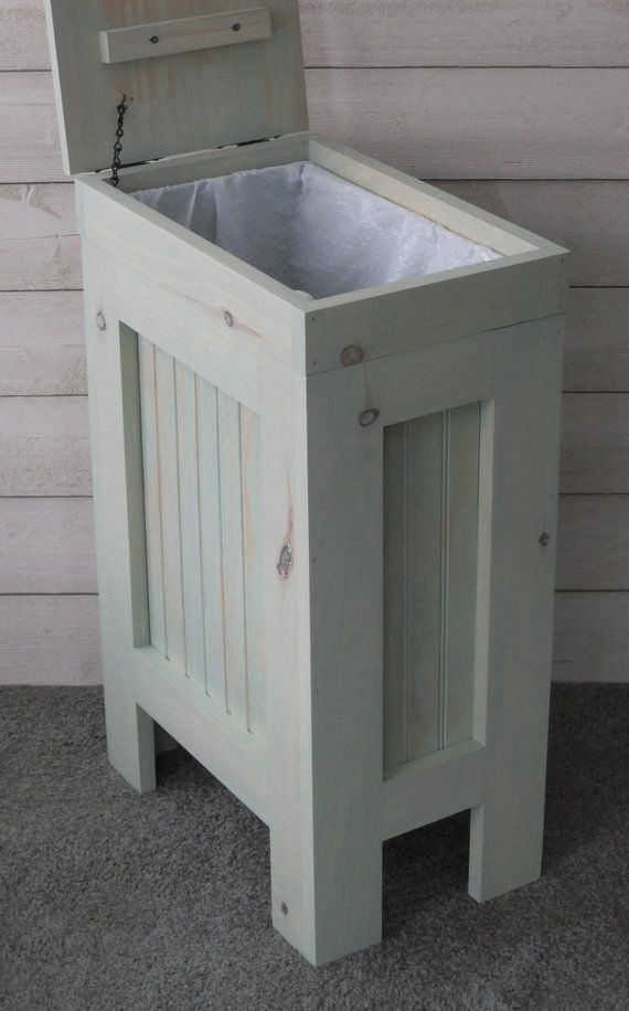 Kitchen Garbage Can Wood Trash Bin Wood Trash Can Rustic Wood Trash Can Trash Can Cabinet Kitchen Trash Cans