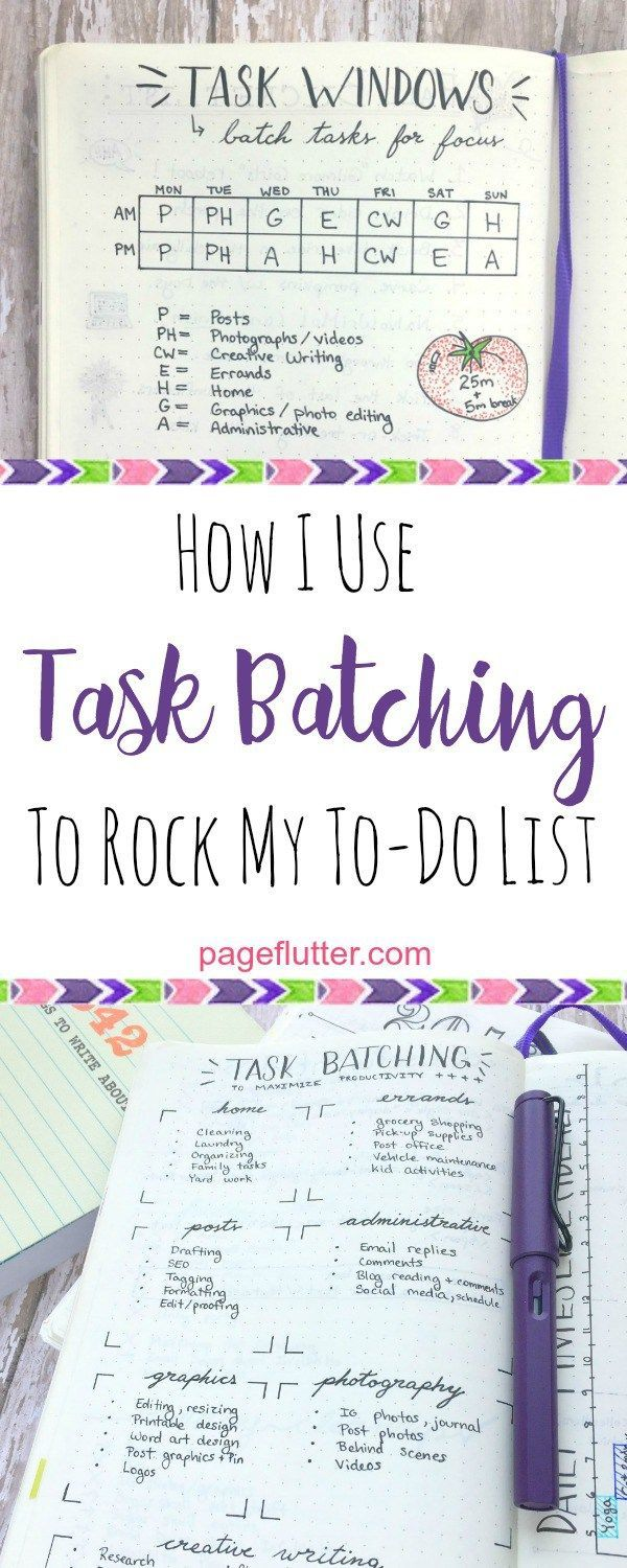"Grouping tasks into ""batches"" saves time and boosts productivity. Try it in your bullet journal!"