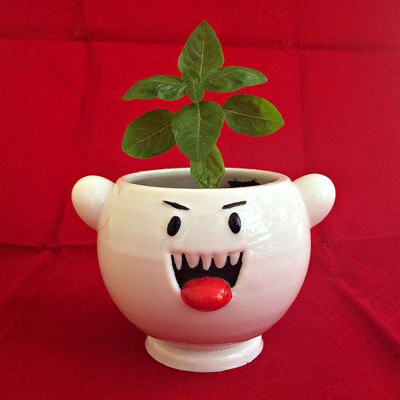 Super Mario Boo Ghost Planter, cute ghost, monster, video games, retro, nintendo