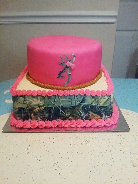 A pink and camo browning cake that i made