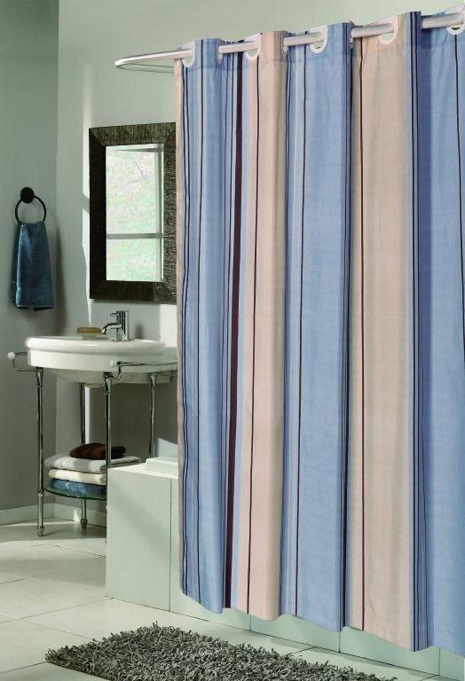 elegant Design Blue & Neutral Fabric Shower curtain w/ Built in Flat Top Rings