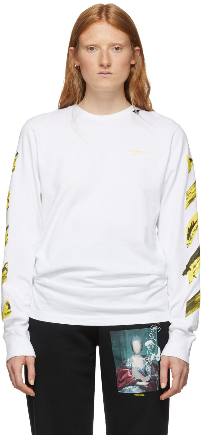 Ssense Exclusive White Yellow Painted Arrows Long Sleeve T Shirt Off White Clothing White Floral Print Shirt Long Sleeve [ 1419 x 656 Pixel ]