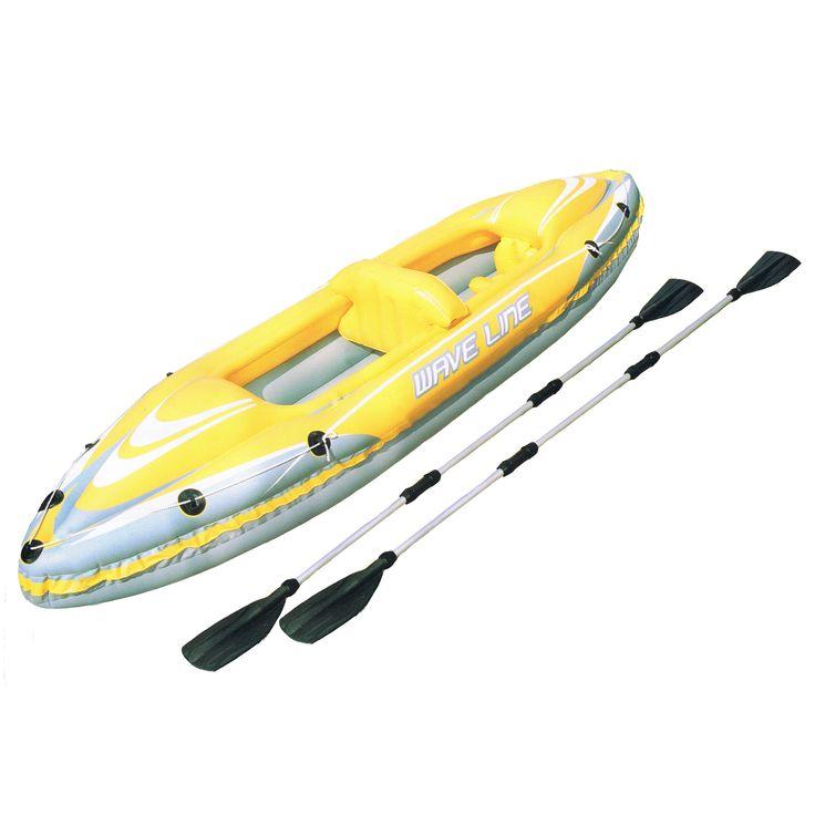 KAYAK 2 PERSOONS Materiaal: Deze 2-persoons kayak van Bestway is vervaardigd van stevig vinyl en voorzien van veiligheidsventielen.  Afmeting: 361x76cm.   Schroefkleppen om snel op te blazen en leeg te laten lopen.  Sleeptouw met ringen.  De vorm van de kayak voorkomt dat er water binnendringt.  Comfortabele cockpit met  opblaasbaar zitgedeelte rugleuning voetsteun bodem. Met 2 dubbele aluminium roeispanen (254cm). Inclusief reparatieplakker.