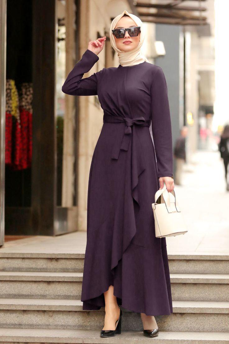 Nayla Collection – Mor Tesettür Çapraz Elbise 4041MOR – Tesetturisland.com