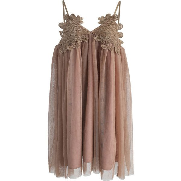 Chicwish Irresistible Allure Mesh Cami Dress in Tan ($59) ❤ liked on Polyvore featuring dresses, brown, mini dress, short mesh dress, brown cami, brown dresses and mesh dress