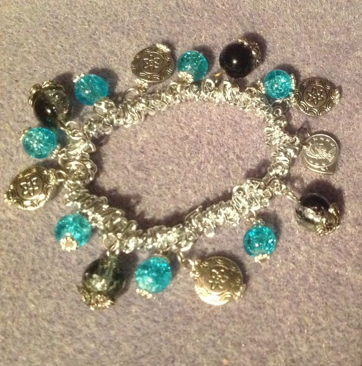 Chain and stretchy  charm bracelet