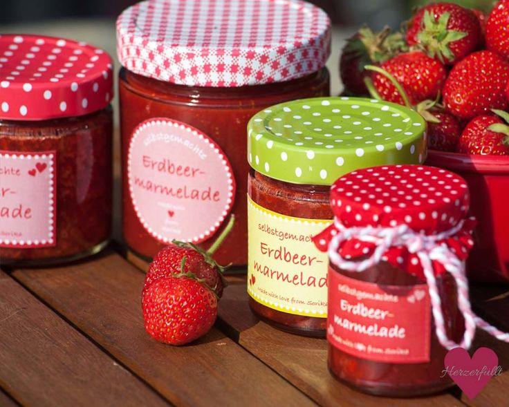Rezept Erdbeermarmelade und kostenlose Etiketten