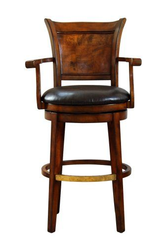 Beautiful Wood and Leather Bar Stools with Arms